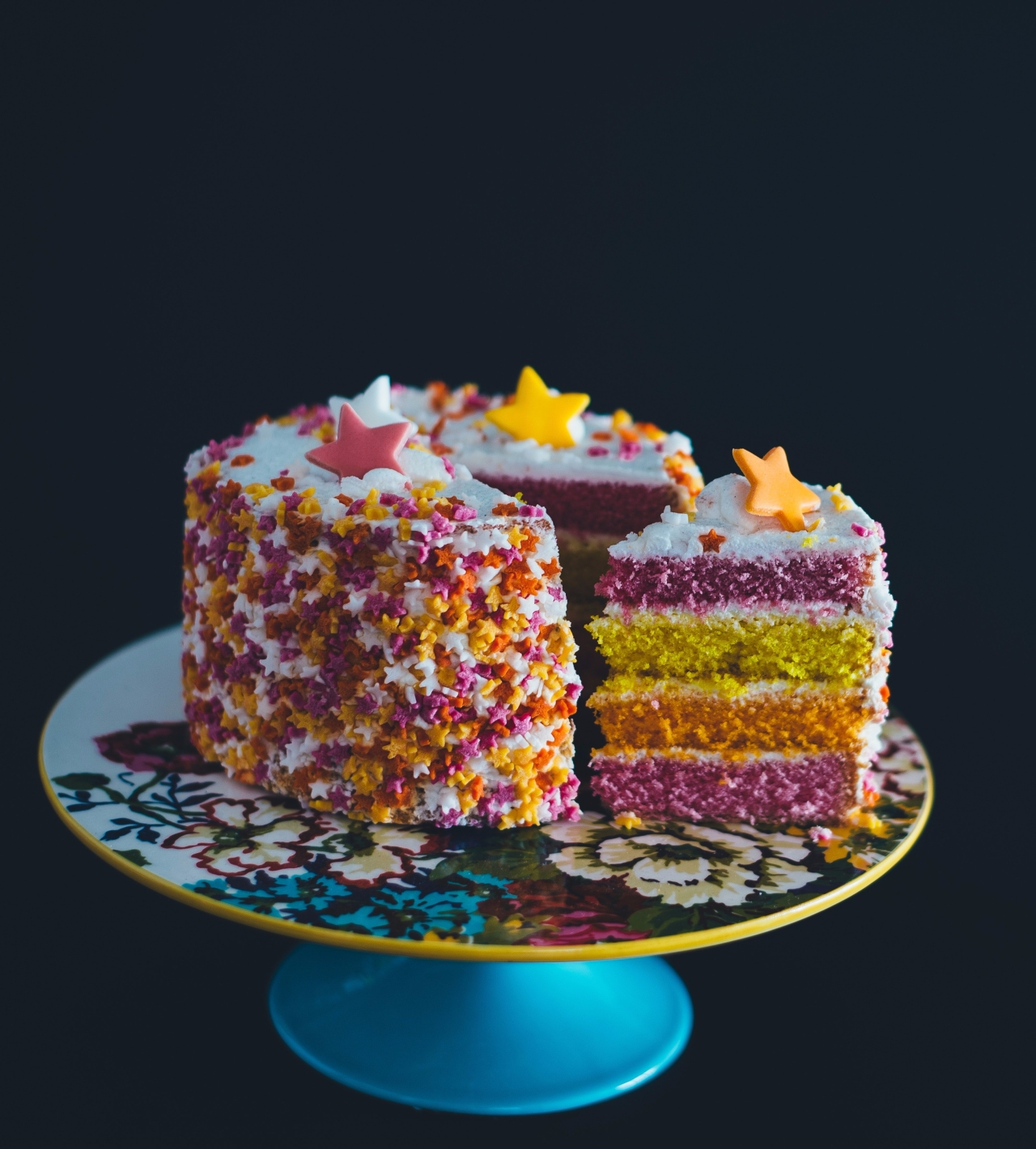 Homemade birthday cake from a cookbook