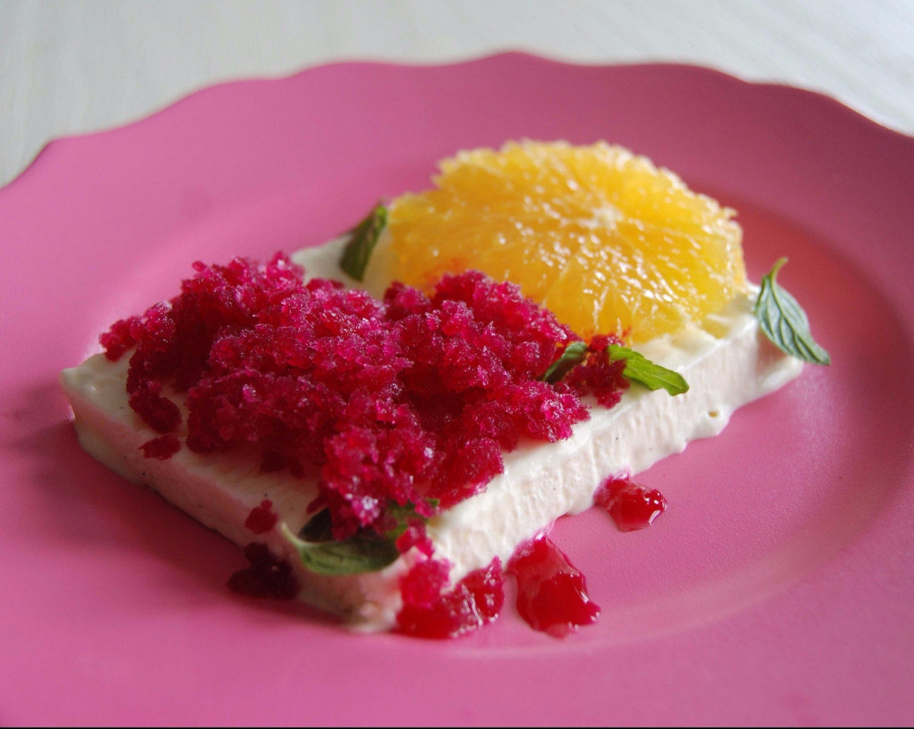 Vanilla Parfait with Orange Granita recipe from Meyers and Chang at Home Cookbook